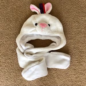 White bunny hat with scarf glove set